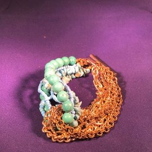 Jewelry - Gold tone and Turquoise Unique Bracelet